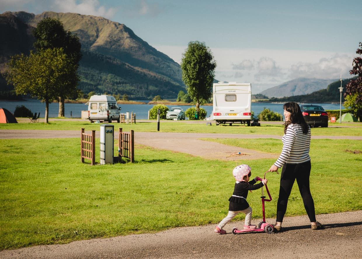 Invercoe Caravan and Camping Park in Glencoe, Scotland.