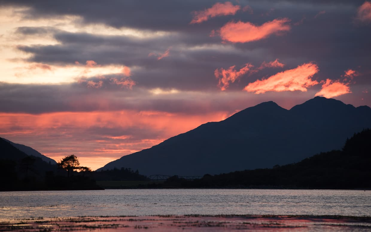 Sunset over Loch Leven from Invercoe Caravan and Camping Park.