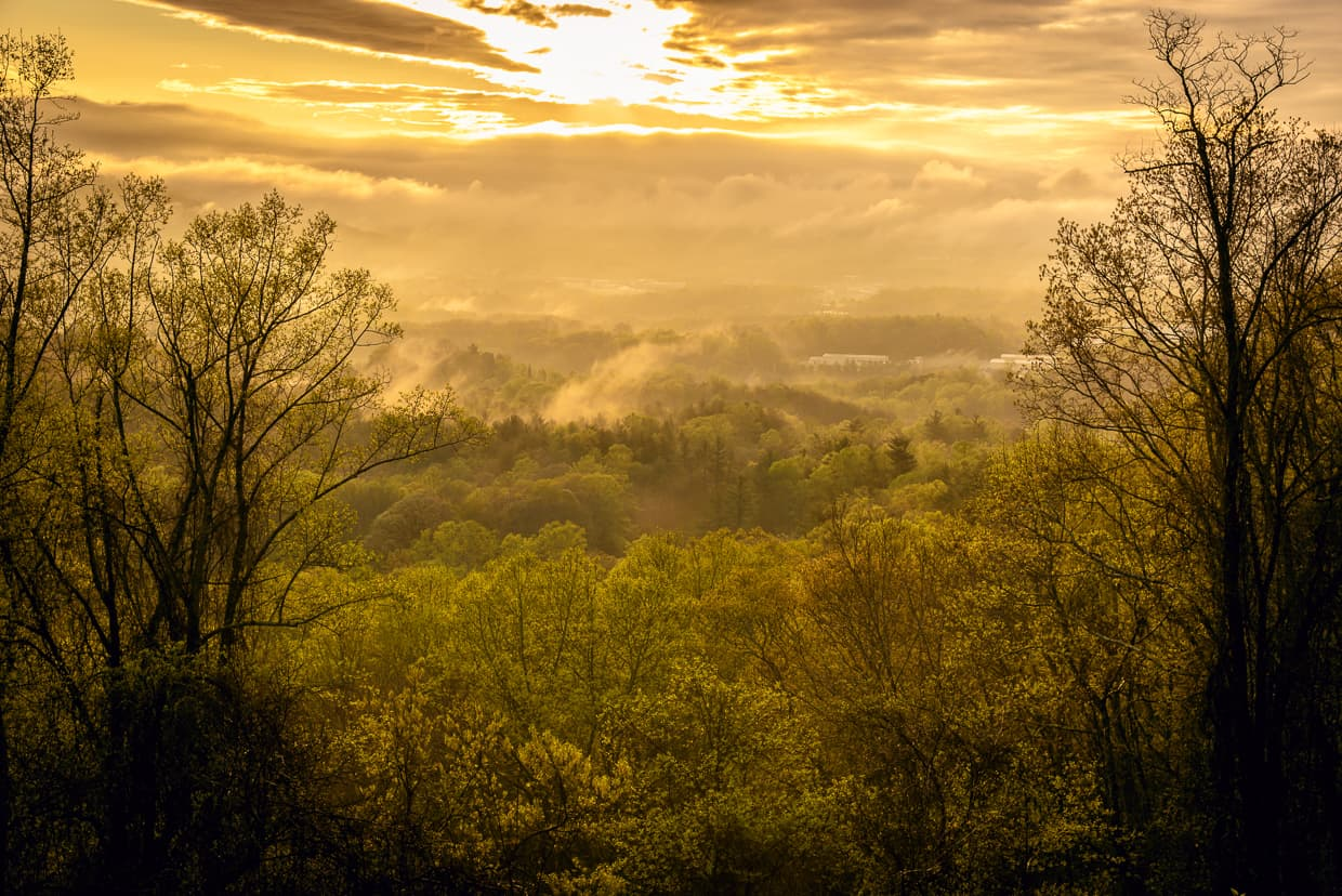 Sunrise over the Smokey Mountains in North Carolina.