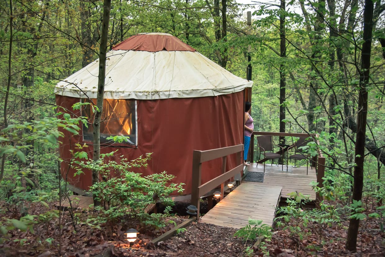 Enjoying a yurt in Georgia on my Babymoon.