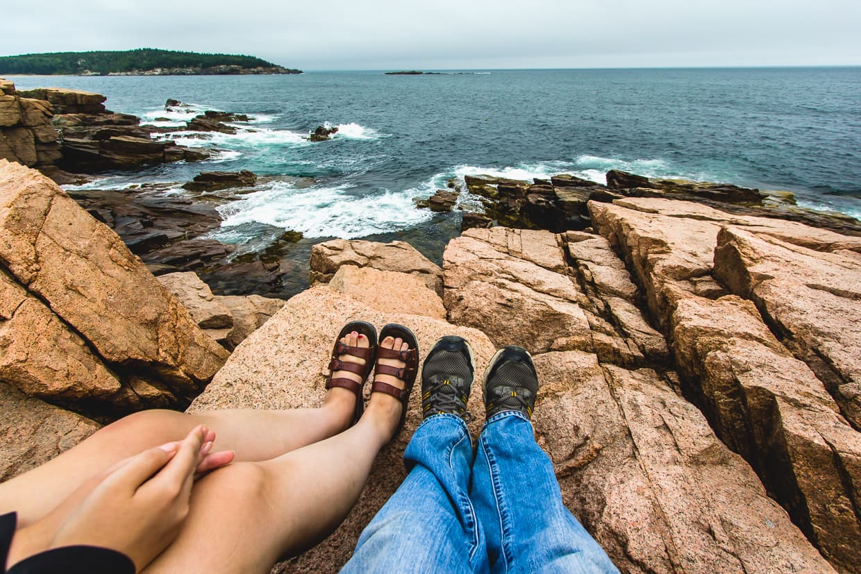 Relaxing on our trip to Acadia National Park.
