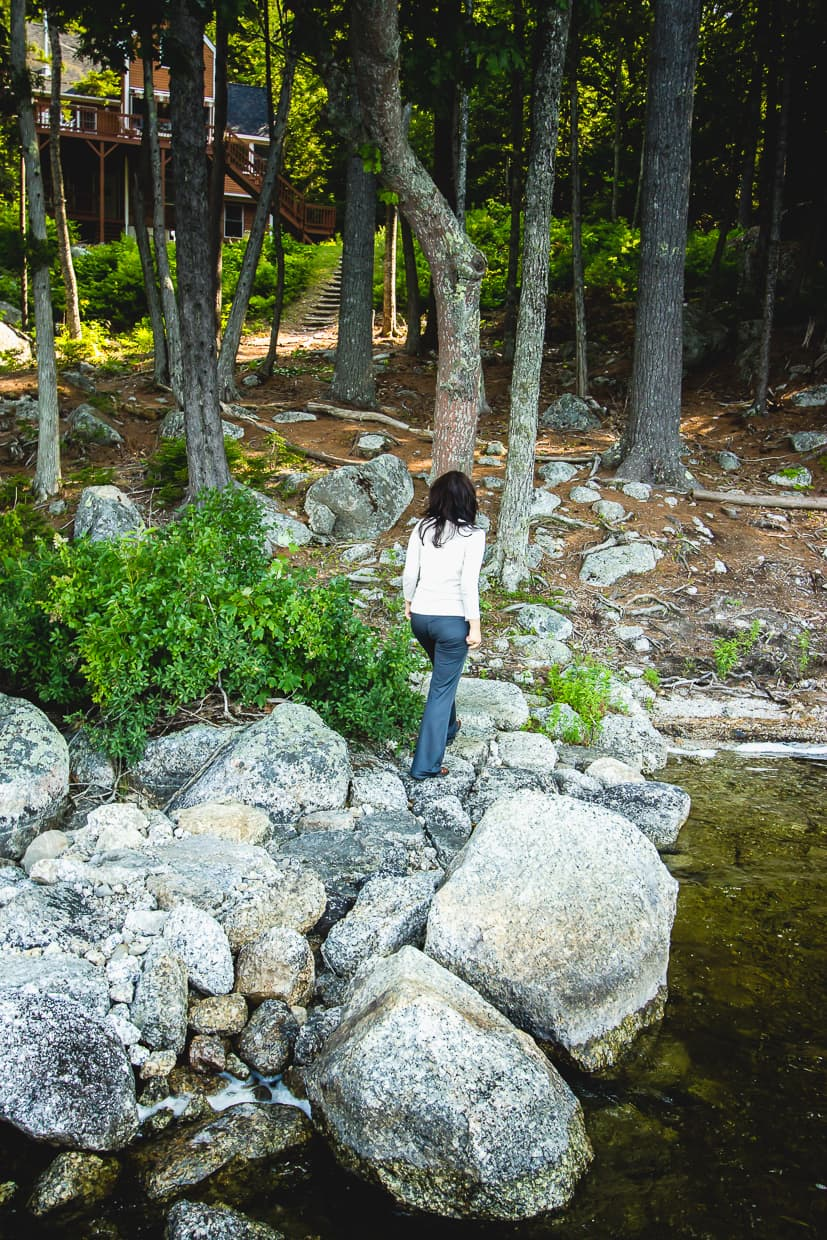 Walking by a lake on our trip to Maine.