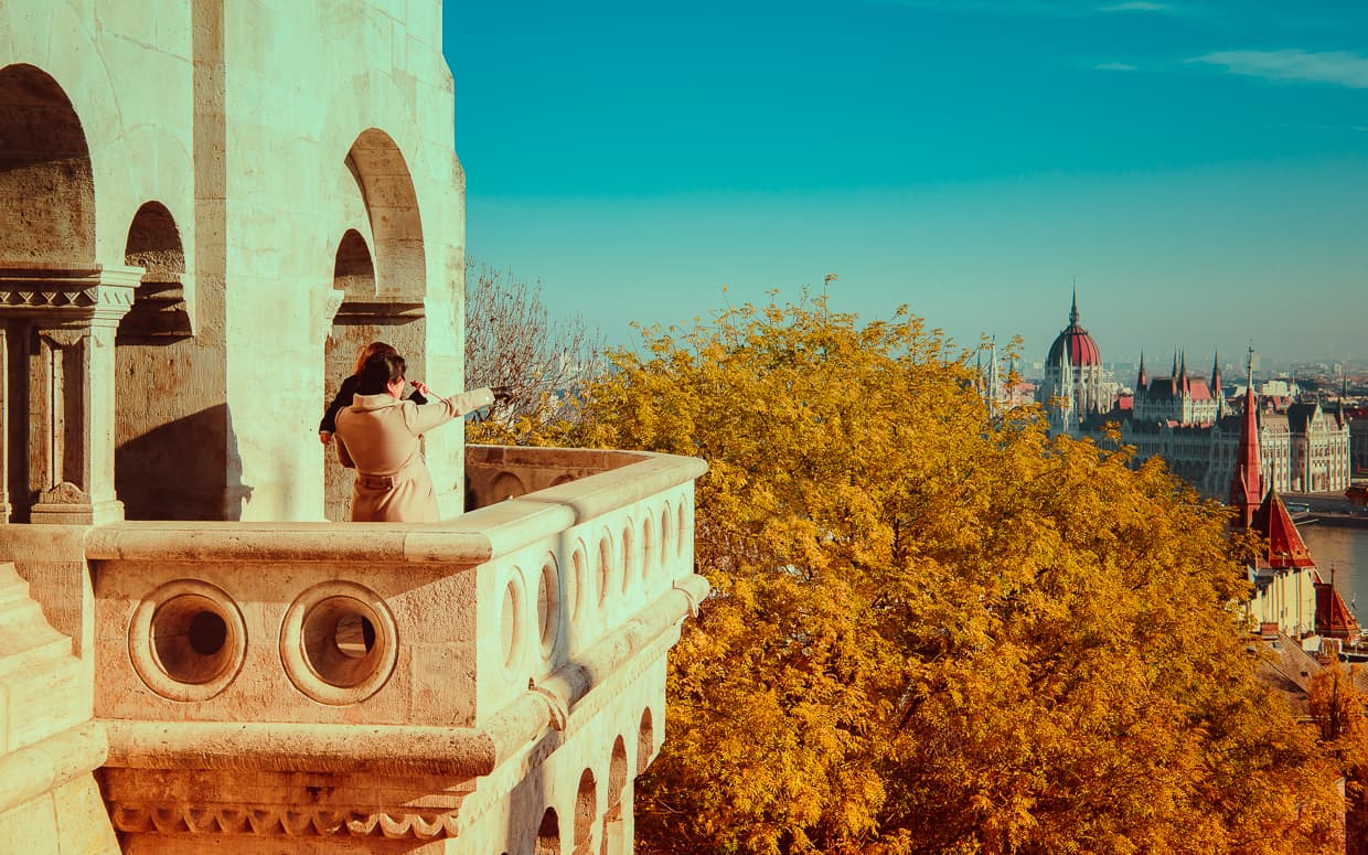 Looking out from the Fisherman's Bastion at Budapest, Hungary.