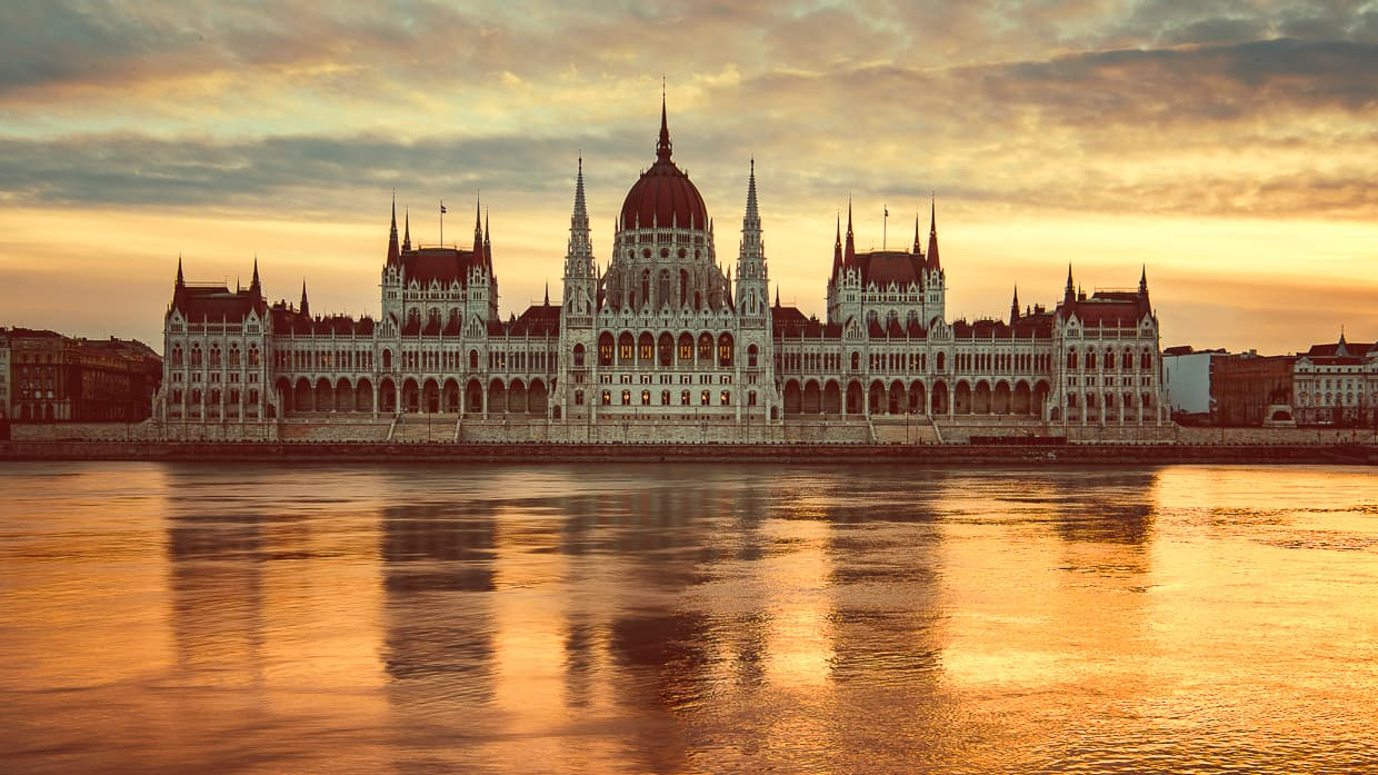 The Hungarian Parliament Building at sunrise in Budapest, Hungary.