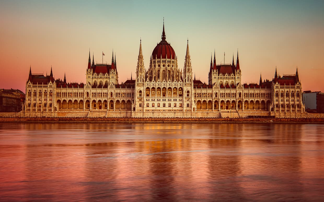 The Hungarian Parliament Building just after sunset in Budapest.