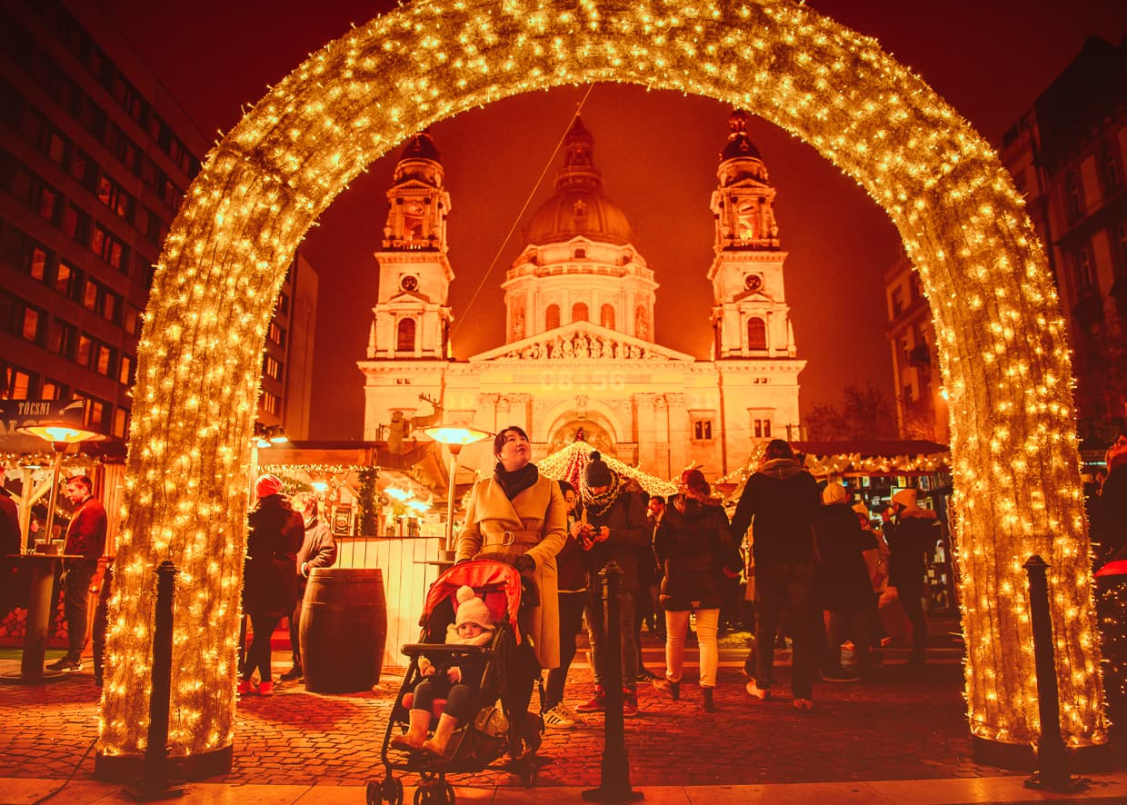 The Christmas Market at St. Stephen's Basilica in Budapest, Hungary.