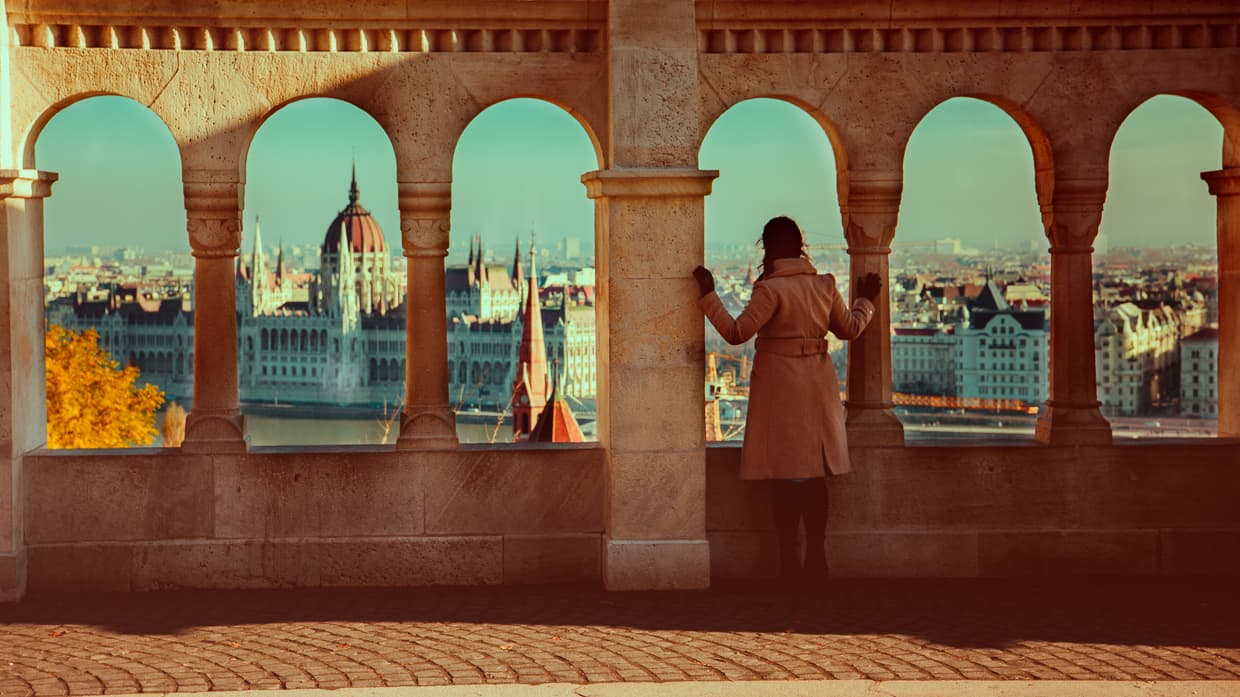The view from the Fisherman's Bastion in Budapest, Hungary.