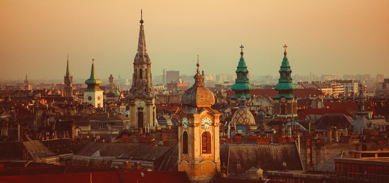 The skyline of Budapest, Hungary at sunset.