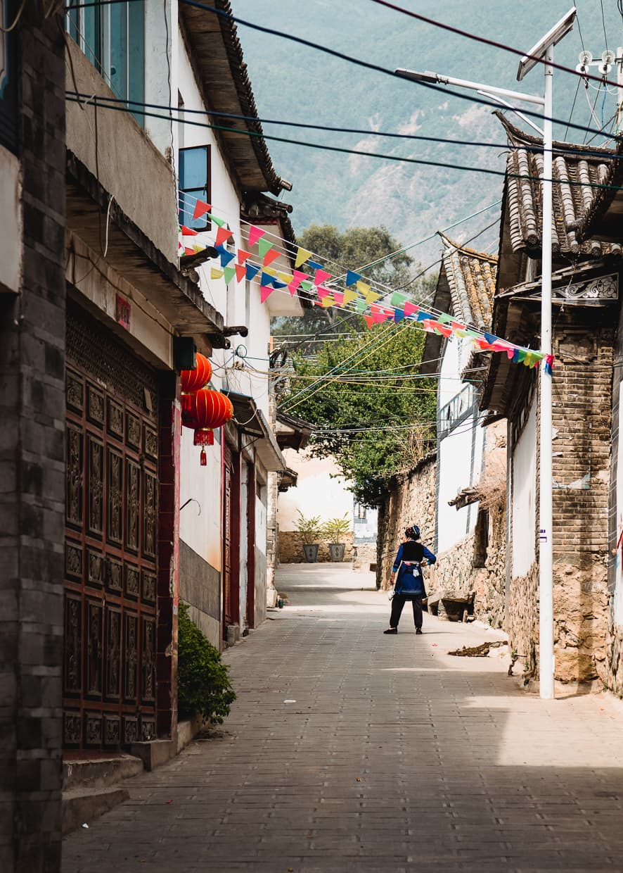An alley inside Zhoucheng, a village near Dali, China.