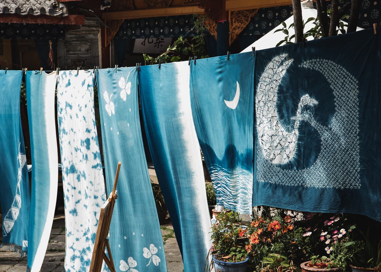Tie Dyed tapestries in Zhoucheng, Dali, Yunnan.