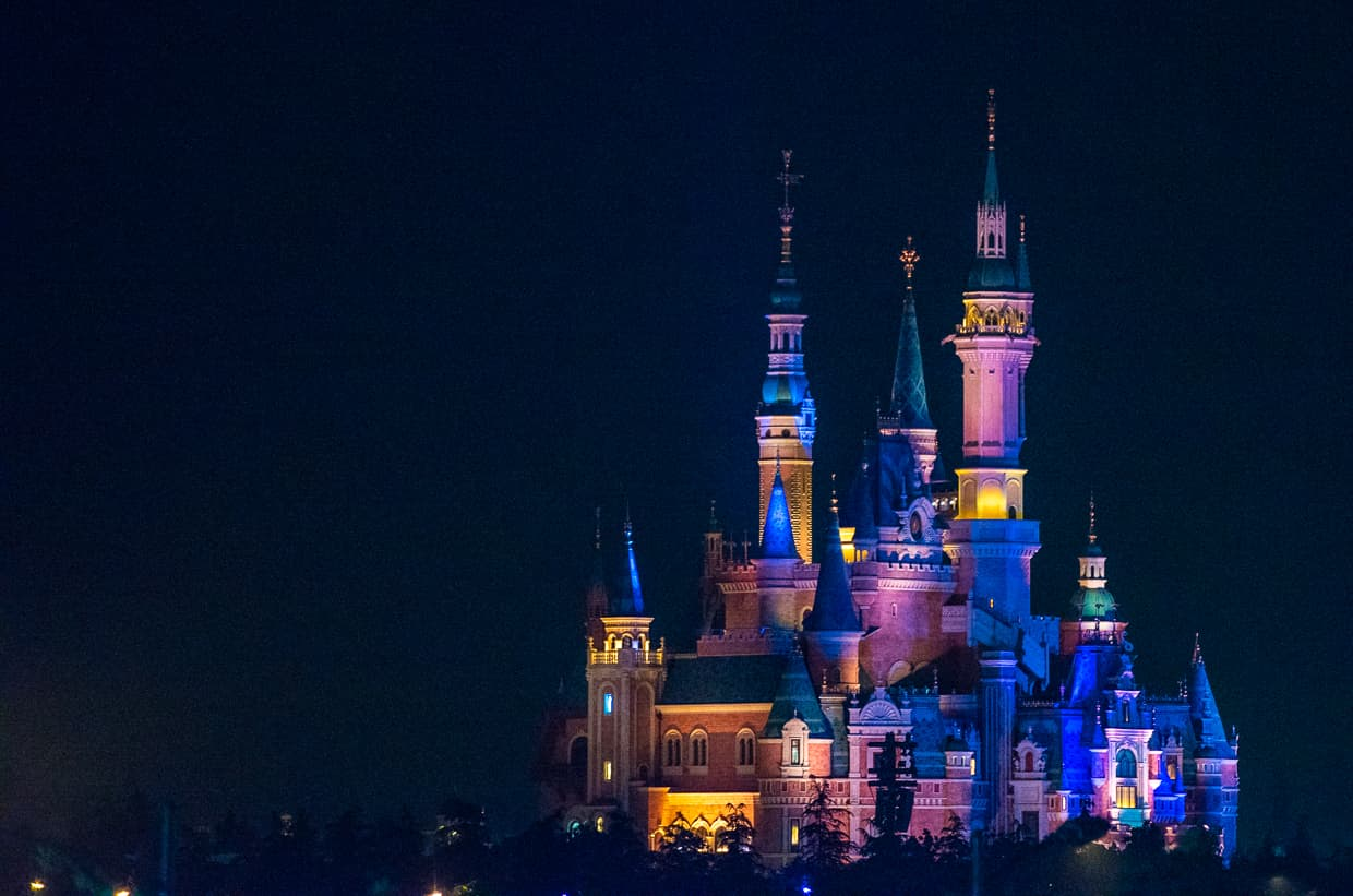 The Shanghai Disney Castle at Night.