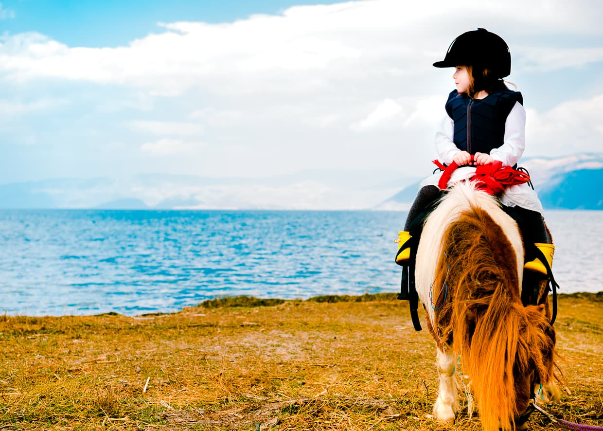 Lisa on a Pony looking out over Erhai.