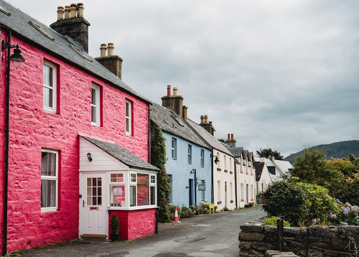 Colorful houses in Dornie, Scotland