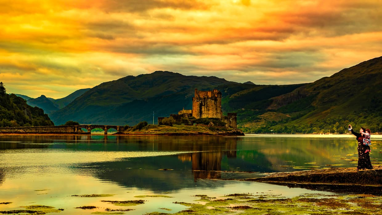 Early morning at Eilean Donan Castle in Scotland.