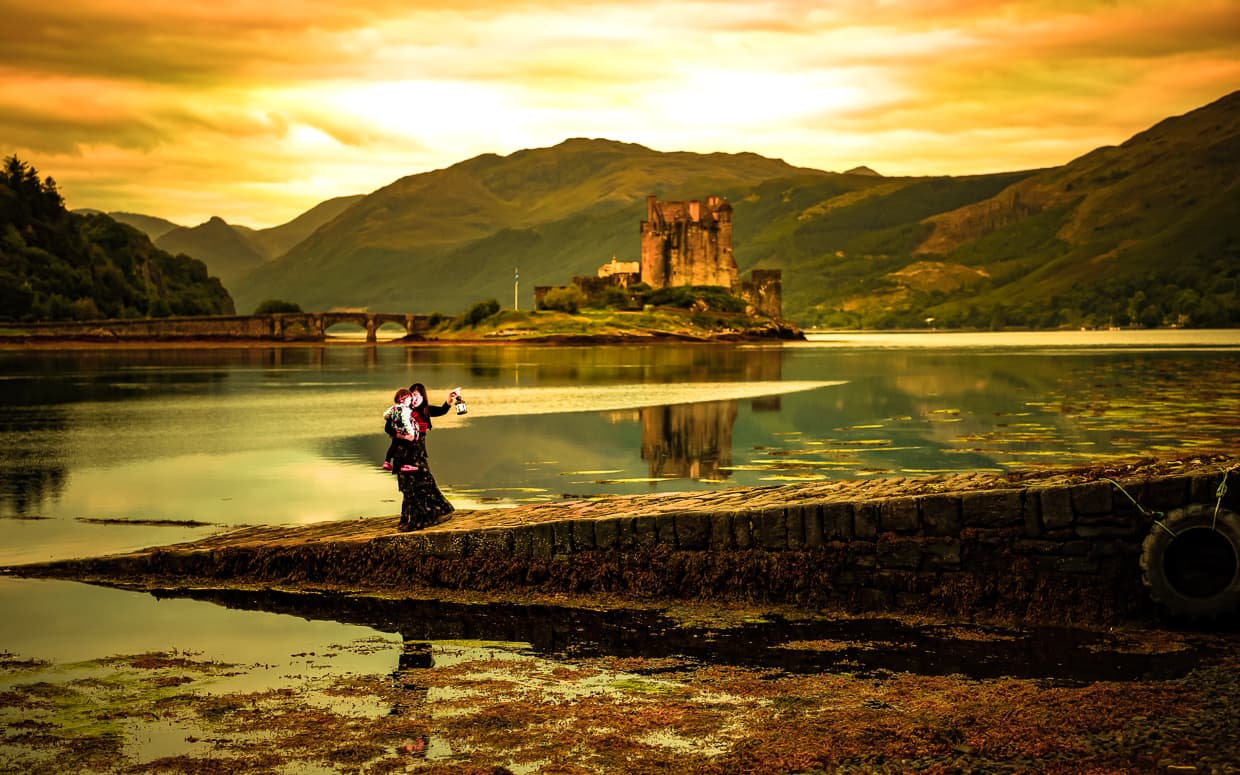 Sunrise at Eilean Donan Castle near the Isle of Skye in Scotland.