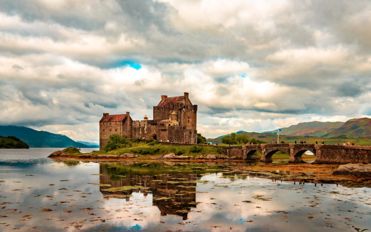 Eilean Donan Castle in Dornie, Scotland. Viewed from the parking lot.