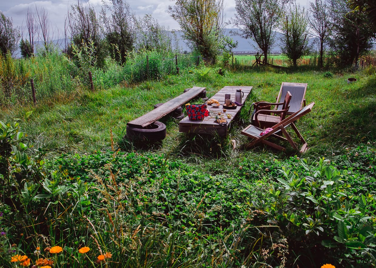 A picnic table at Rainbow Farm.