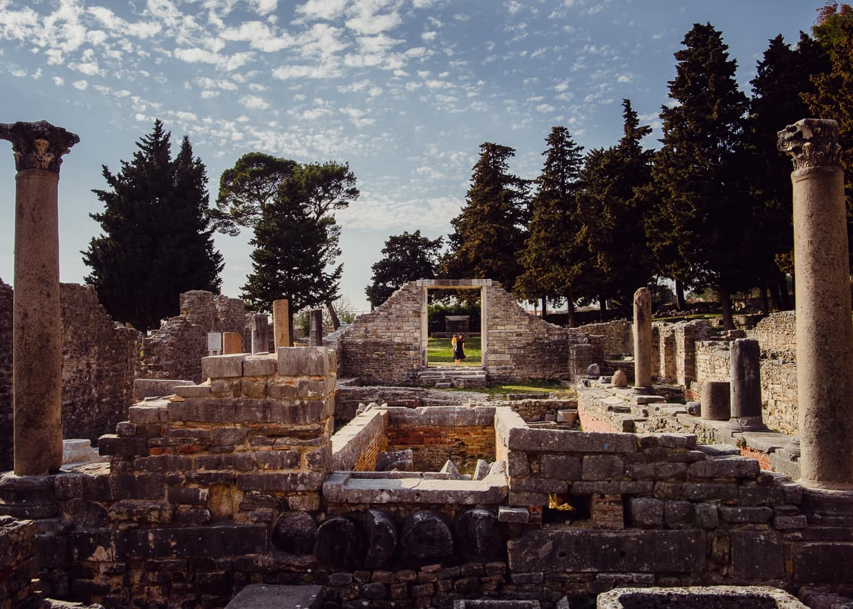 The ruins of Salona in Split, Croatia with a wide angle lens.