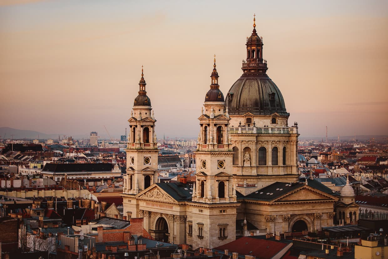 St. Stephen's Basilica in Budapest, Hungary. Shot with a Zoom Lens.