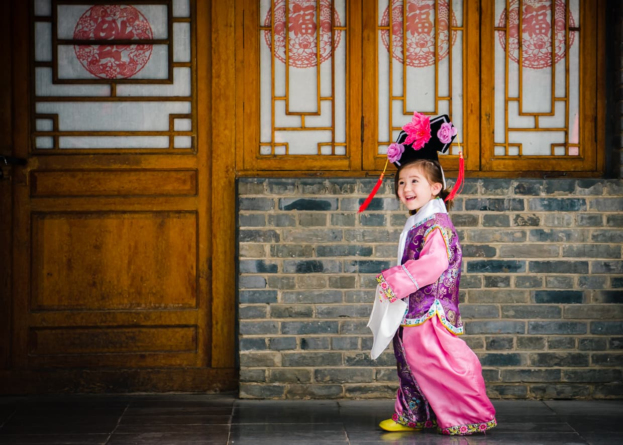Traditional Manchurian clothing in the Yunnan Nationalities Village in Kunming, China.
