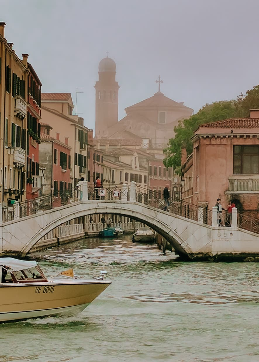 A canal and bridge in Venice, Italy