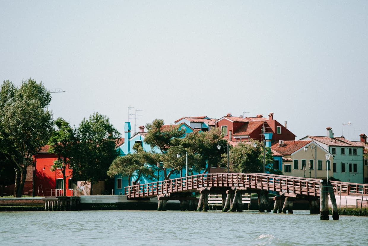 A bridge on burano as viewed from the waterbus.