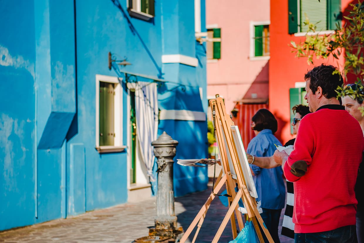 A painting class on Burano. Venice, Italy.
