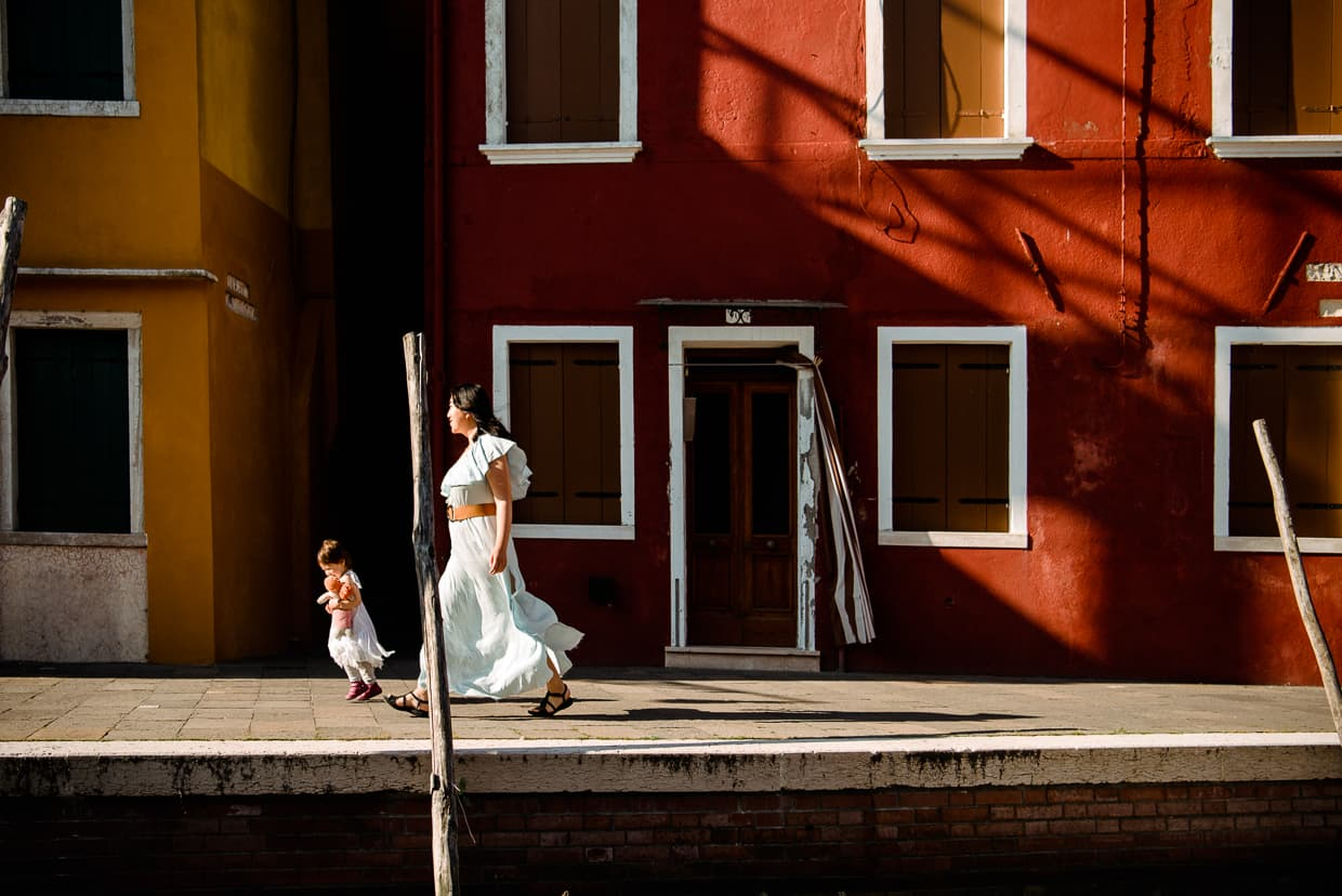 Long shadows in the morning on the Island of Burano.