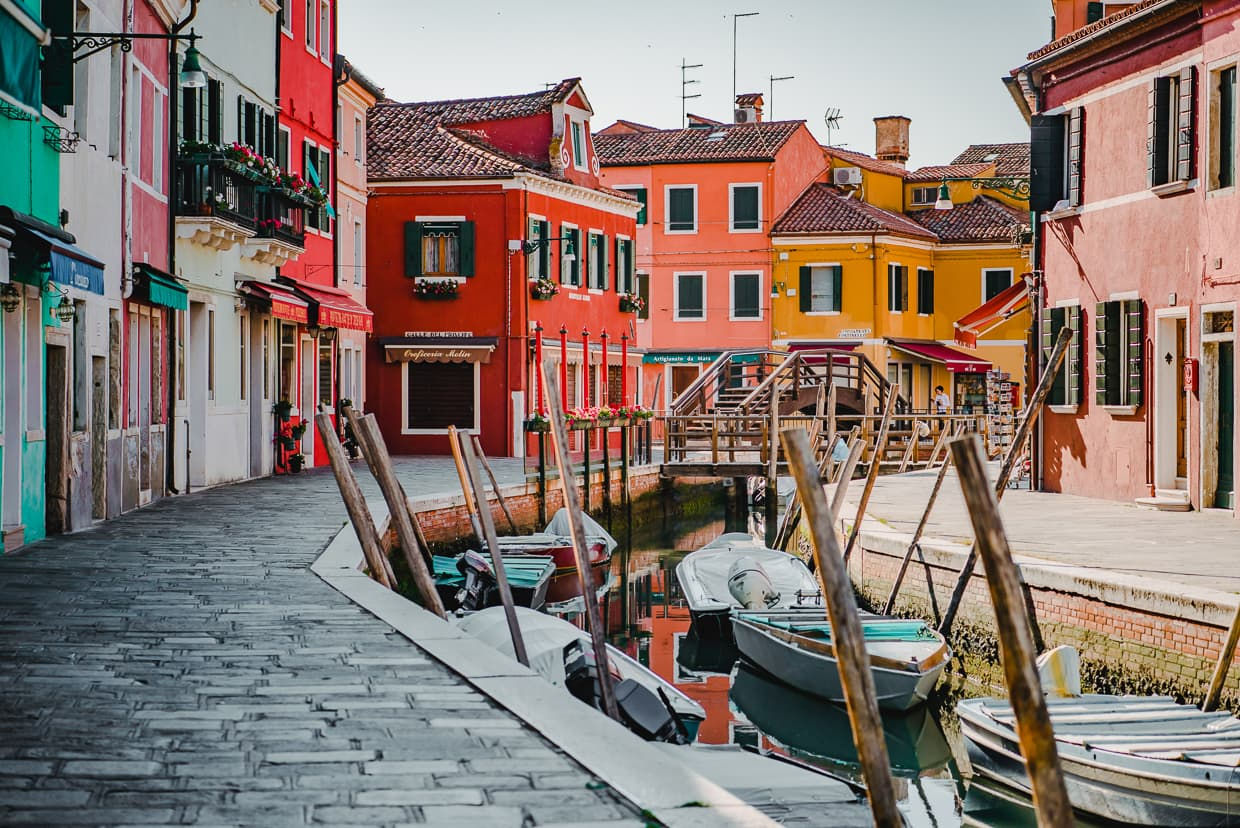 Boats in a canal on Burano near Venice, Italy.