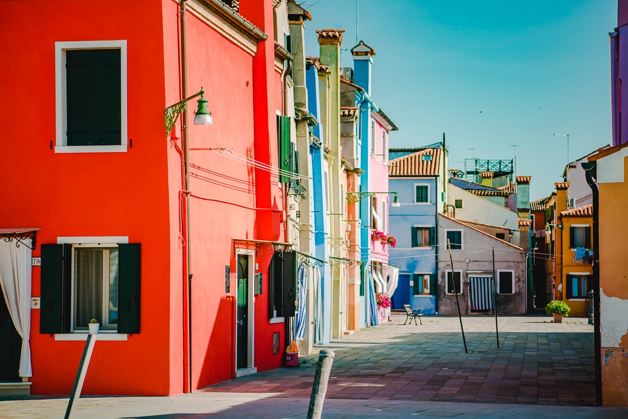 Brightly colored houses on the Island of Burano.