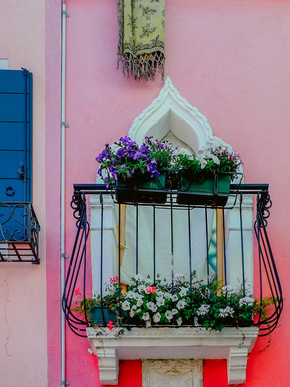 A beautiful window box with flowers on the Island of Burano in the Venice Lagoon.