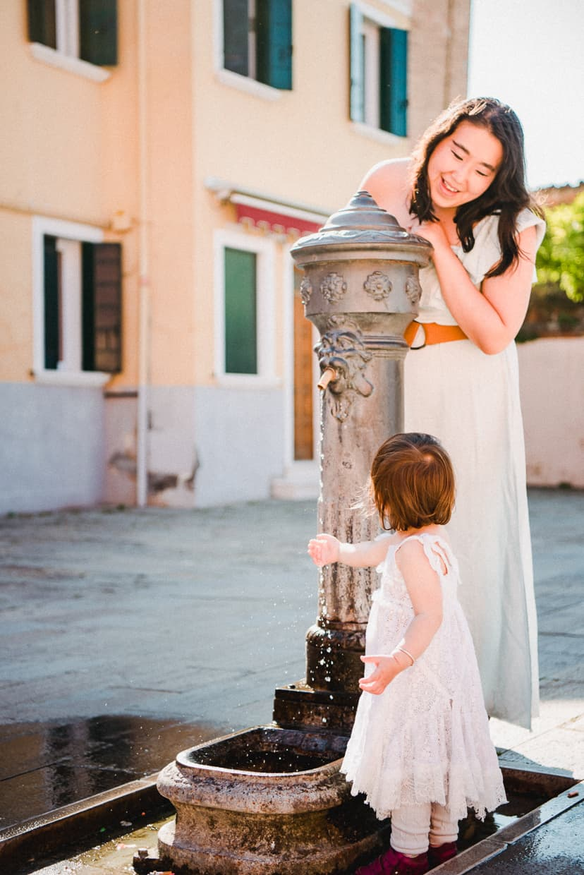 A water fountain on the island of Burano.