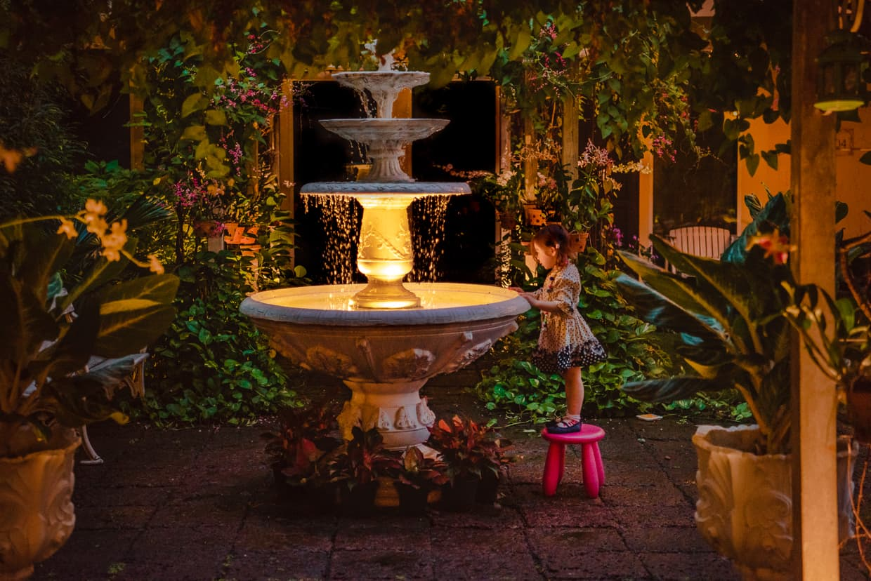 The fountain in the courtyard of the Feung Nakorn Balcony Hotel and Cafe in Bangkok, Thailand.