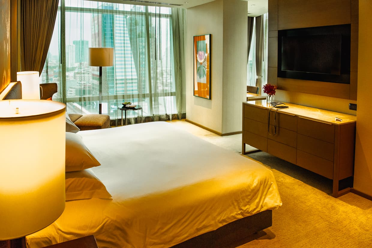 Hotel bedroom Eastin Grand Sathorn, Bangkok, Thailand.