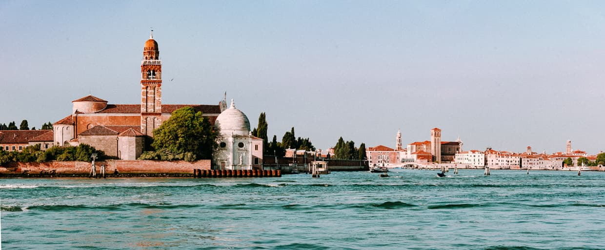The view of the cemetery island near Venice from Murano.