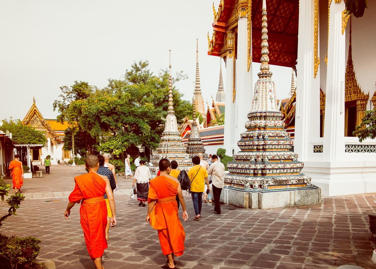 Buddhist Monks at Wat Pho in Bangkok, Thailand.