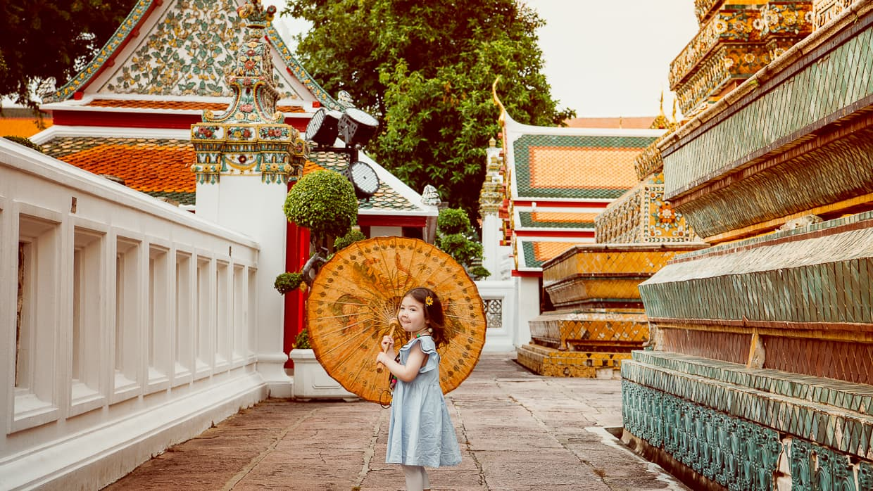 Thai umbrella in Wat Pho, Bangkok, Thailand.