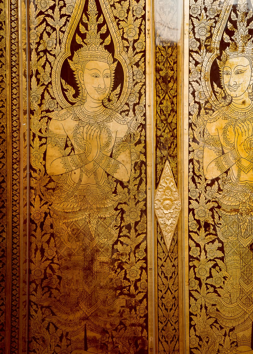 Beautiful wall in Wat Pho in Bangkok.