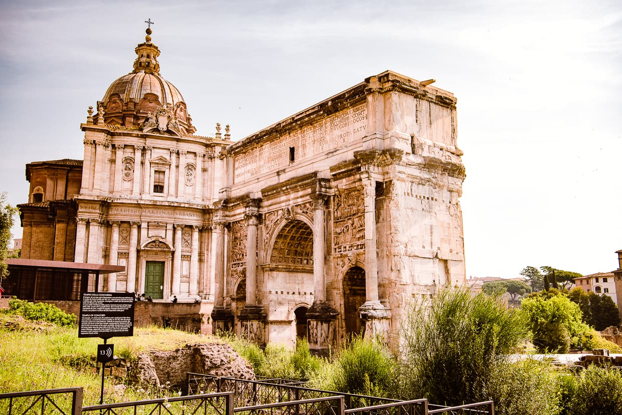 The Arch of Septimius Severus and Santi Luca e Martina in the Roman Forum.