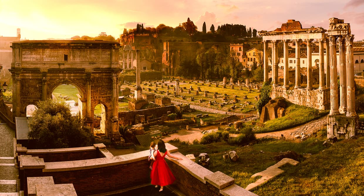The best photography angle for the Roman Forum.