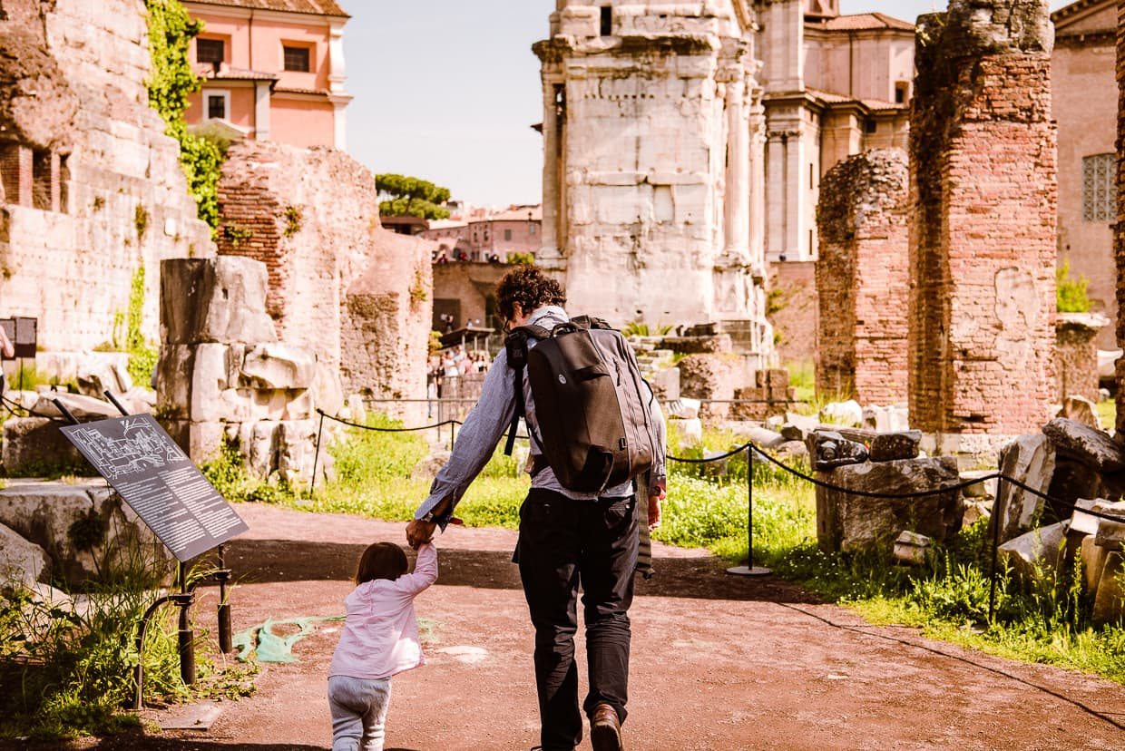 Exploring the Roman Forum as a family.