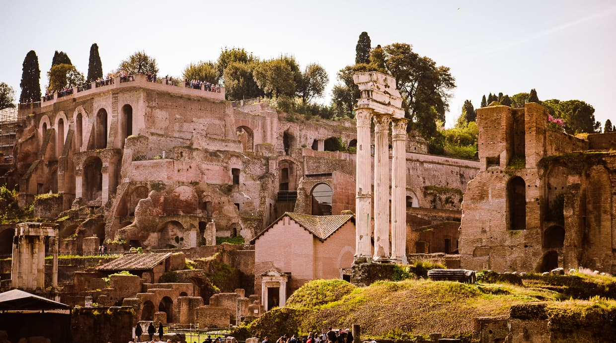 A view of the Roman Forum including the Temple of Castor and Pollux and Palatine Hill.