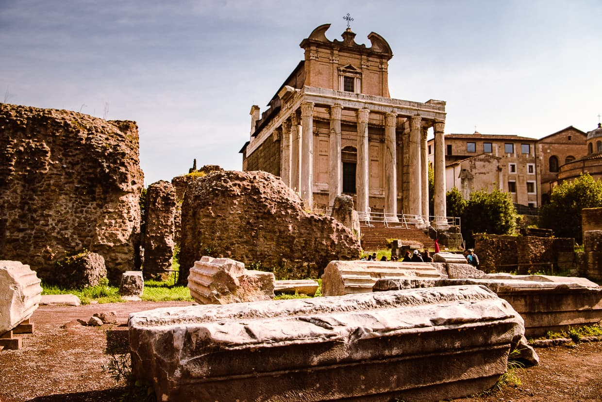 The Temple of Antoninus and Faustina in the Roman Forum.
