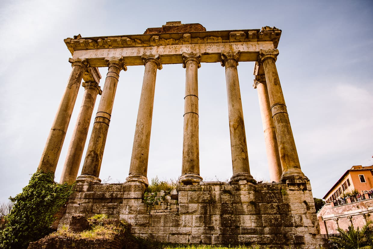 The Temple of Saturn in the Roman Forum.