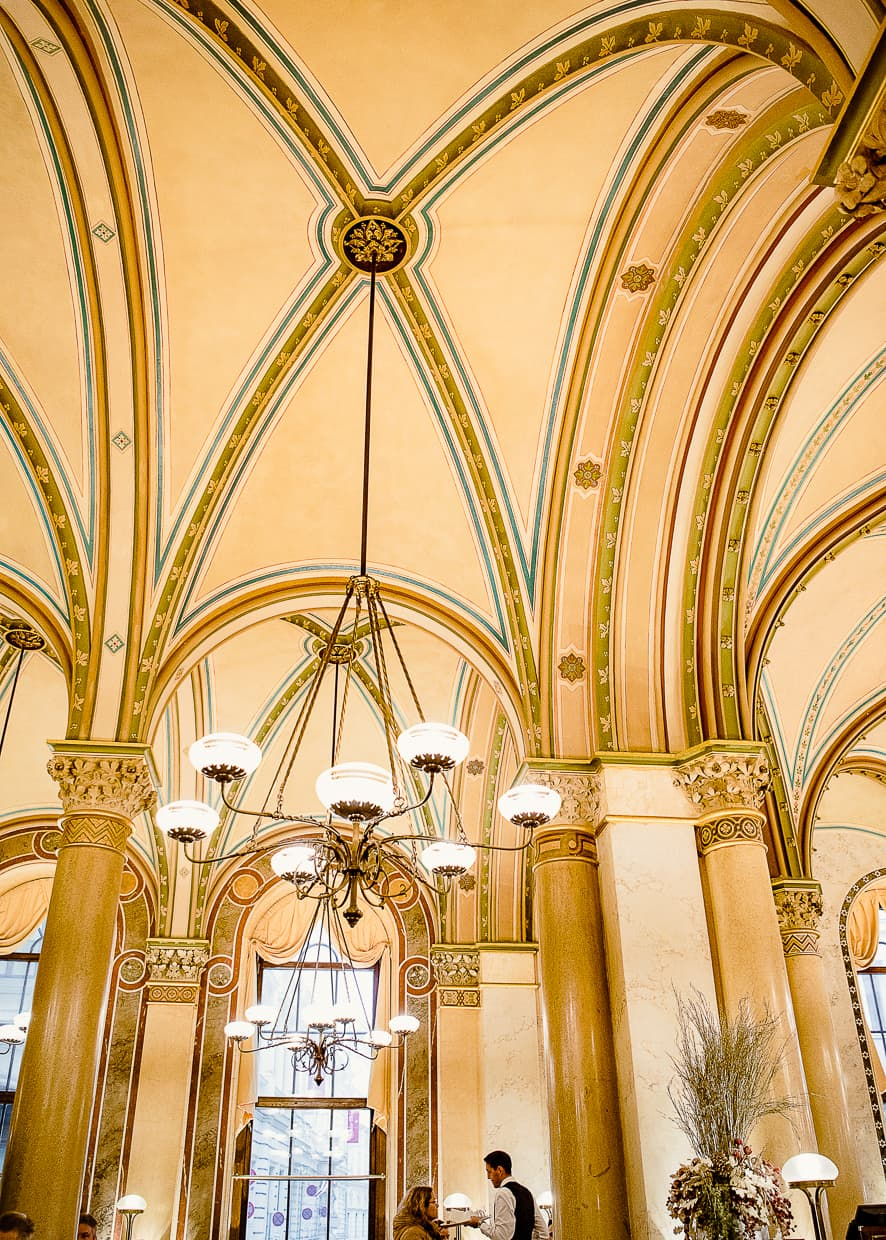 The beautiful arches and ceiling of Vienna, Austria's Cafe, Central.