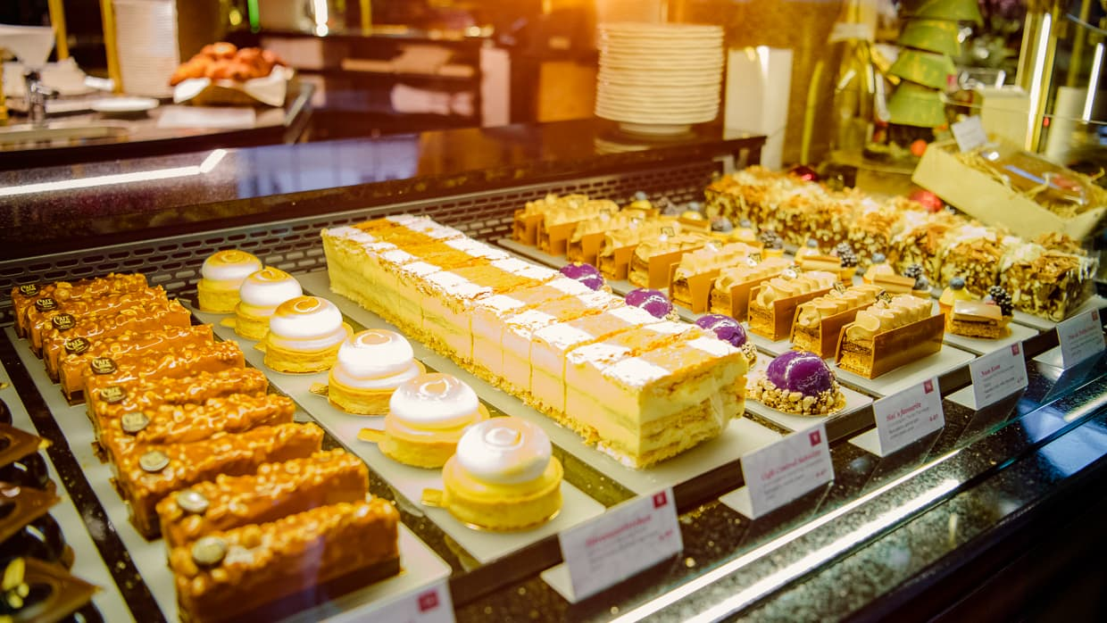 A display of cakes in Cafe Central in Vienna, Austria.