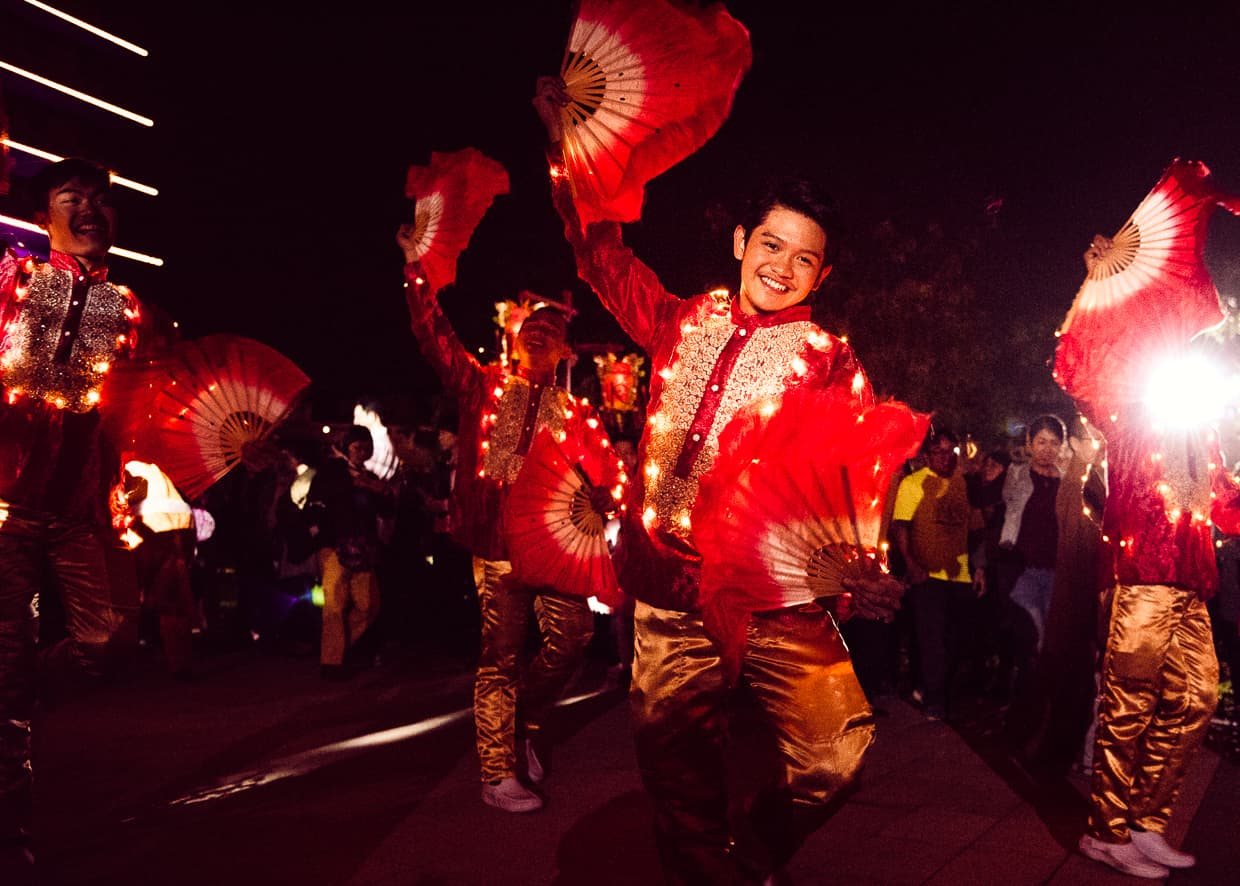 Dancers in the Chinese New Year parade at the Fo Guang Shan Buddha Museum.