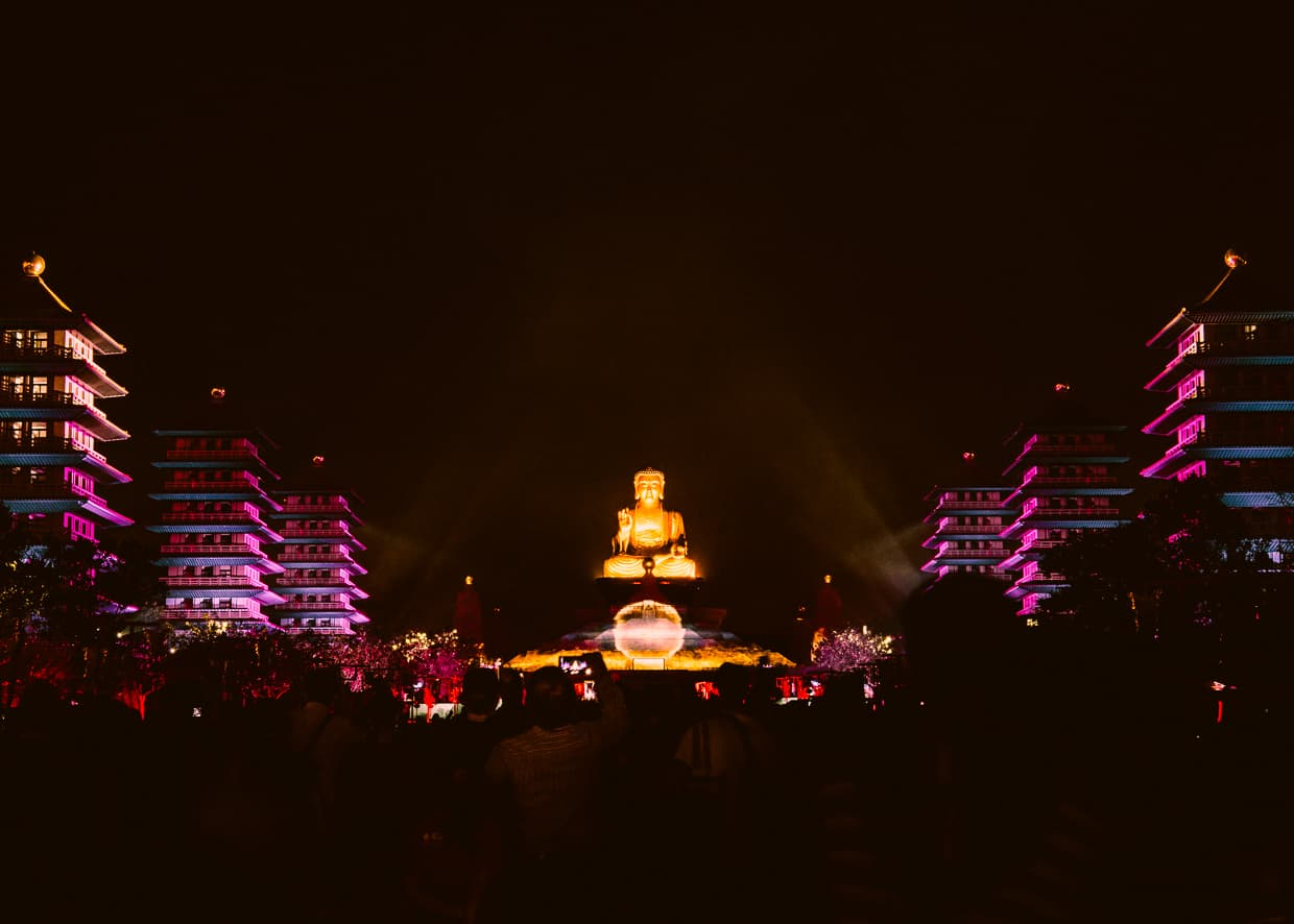 Fo Guang Shan's Big Buddha Statue at night during the light show.