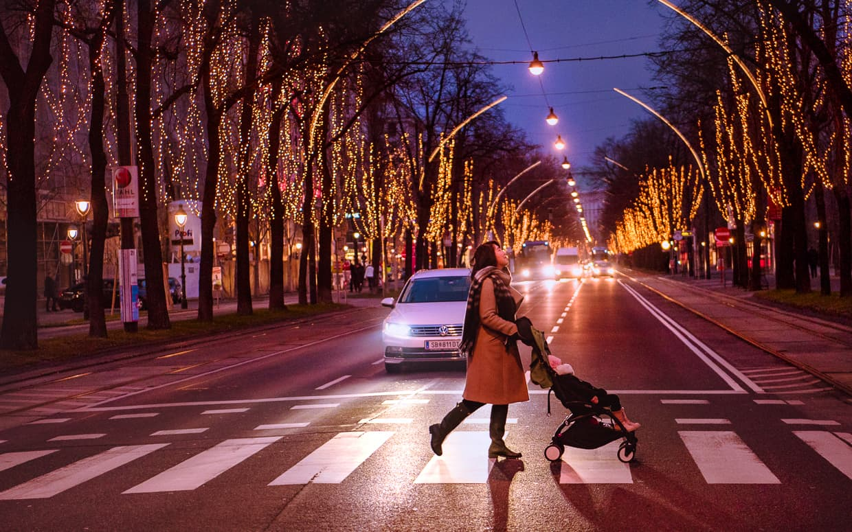 Crossing the ring road in Vienna, Austria at Christmastime.