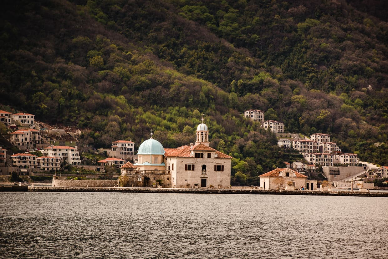 Our Lady of the Rocks, photographed from Perat, Montenegro.